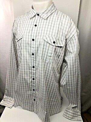 HOWLER BROS. - Mens XXL White/Tan/Blue Long Sleeve Plaid Shirt