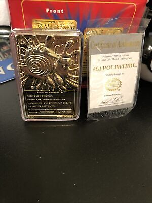 Pokémon 23 karat Gold-Plated Trading Card: Poliwhirl w/certificate of authentici