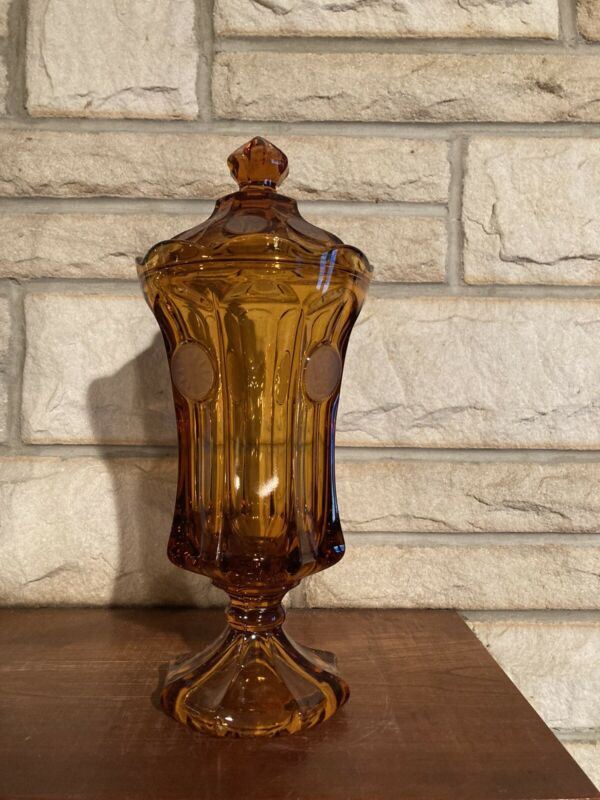 Vintage Fostoria Footed Covered Glass Urn w/ Lid, Coin Pattern Amber Color 12.75