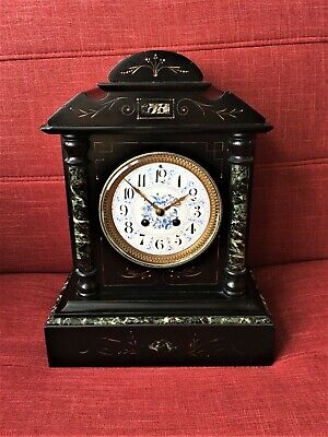 OLD ANTIQUE LARGE FRENCH MARBLE MANTEL CLOCK Striking