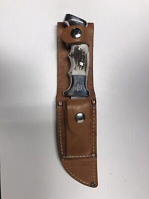 """R.H. Ruana Vintage Knife 20B 5"""" With Leather Sheath and Stone"""