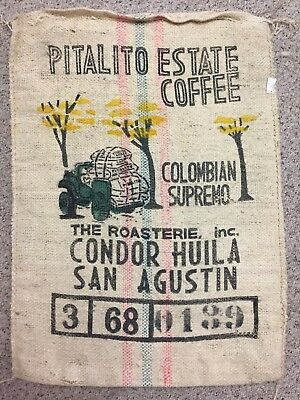 Burlap Coffee Bag Columbia Supremo Jeep Roasterie Estate Gunny Sack