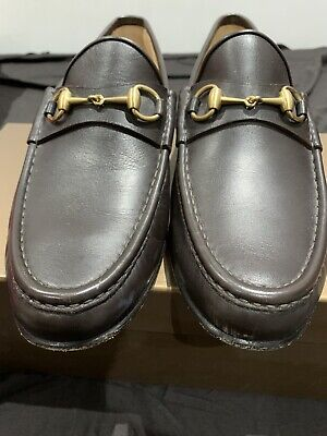 Gucci Mens Shoes Brown Leather Horsebit Loafers UK 10.5 100% Authentic