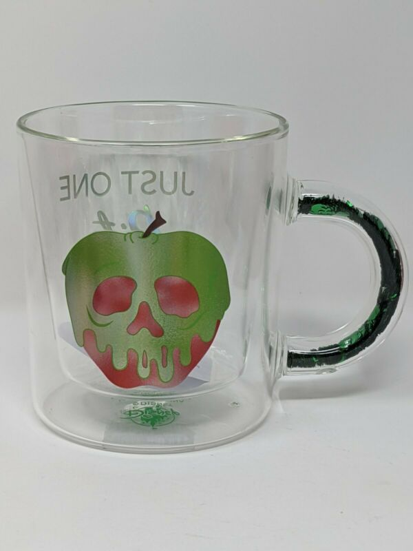 Disney Parks Snow White Evil Queen Poison Apple Just One Bite Clear Coffee Mug