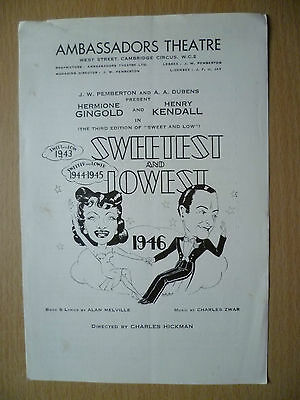 AMBASSADORS THEATRE PROGRAMME 1946- SWEETEST AND LOWEST by Alan Melville