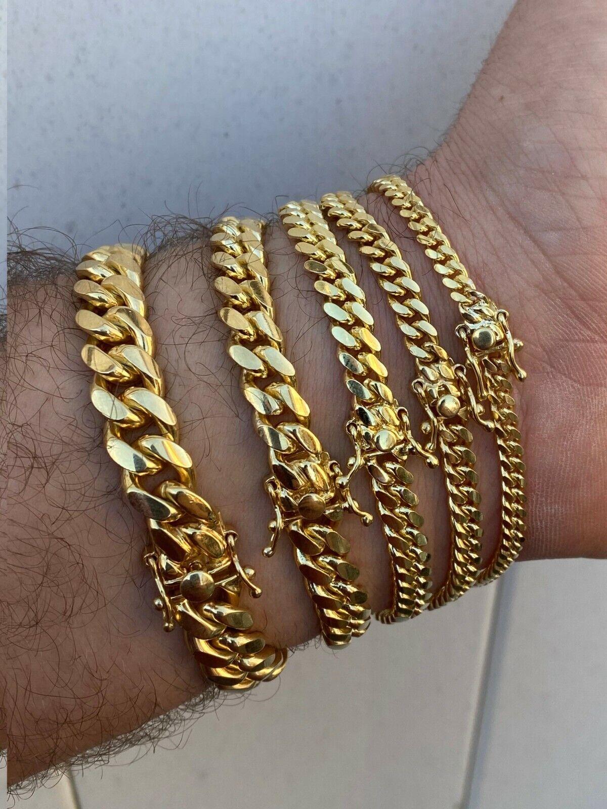 MIAMI 10mm gold Sterling 925er Silber Panzerkette Armband