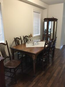 Solid Oak Dining Room Set with Curio Hutch