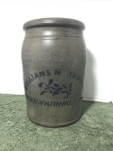 "Williams & Reppert Greensboro, PA. Stone Jar, 10""; Crack"