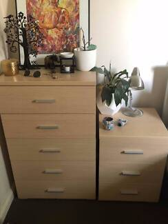 Matching chest of drawers and bedside tables