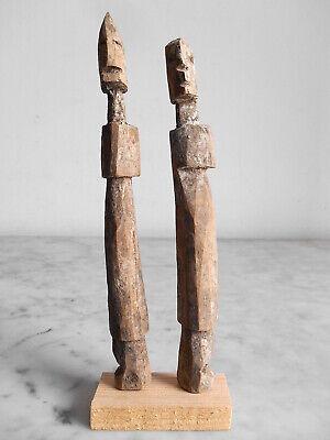 2 Statuettes Fetishes Aklama Adan Ada Ewe 17cm +18cm Art Tribale Primitive