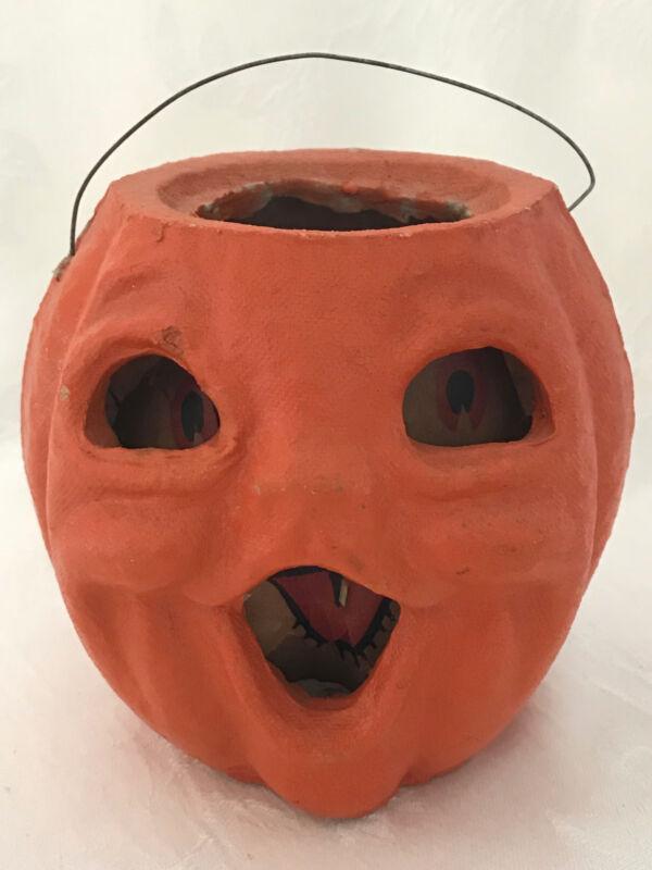 Vintage Halloween Small Pulp Paper Mache JOL Lantern w/ Original Insert #7