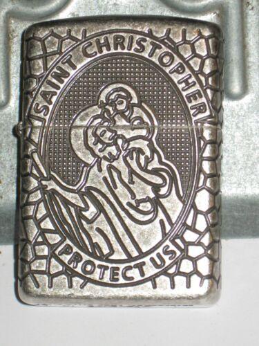 Zippo USA Windproof Lighter 49160 Saint Christopher 360 Multi Cut Antique Silver