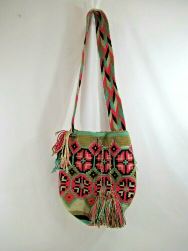Wayúu Mochila Bag Purse Handbag Bucket Shoulder Straps Colombian Pink Teal Woven