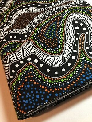 Australian Aboriginal Fabric - Possum Land Blue -100% Cotton by the Yard
