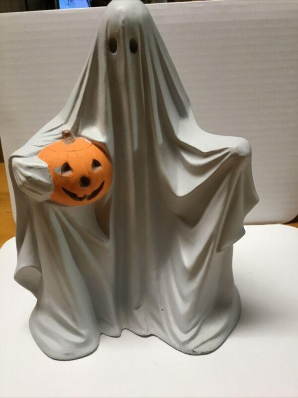 Byron 1972 ceramic mold Ghost W Pumpkin No light Or Eyes Vintage Halloween decor