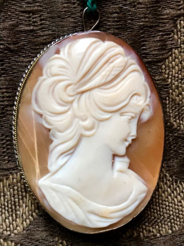 Antique Vintage  Cameo Pin  Pendant  in Sterling Silver Setting