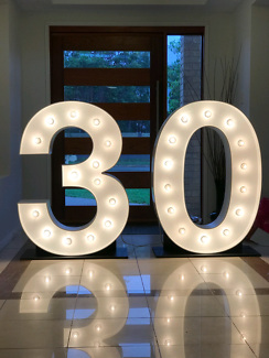 Giant 30 light up numbers for hire