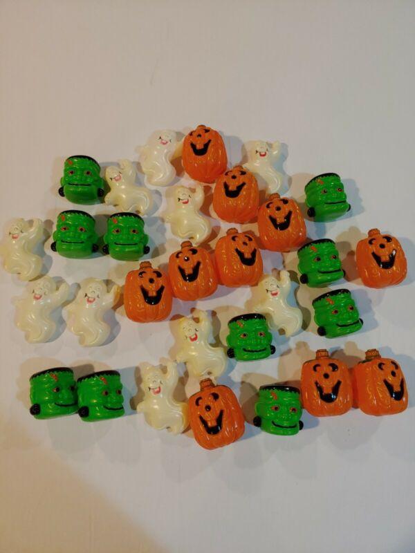 Vintage Lot 30 HALLOWEEN Plastic Blow Mold String Light Covers Pumpkins Ghosts