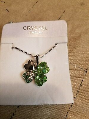 Austrian Crystal clover made with Swarovski Elements Necklace green peridot  for sale  Shipping to South Africa