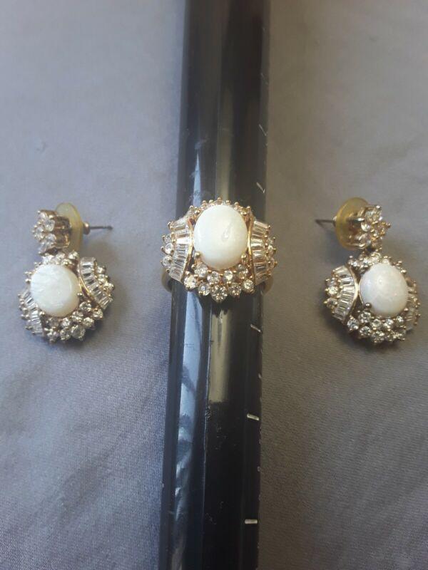 CL Gold Vermeil Sterling Silver 925 cz Opal  Earrings & ring set size 9