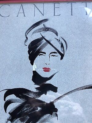 """CANETTI Framed Matted 12""""x14.5"""" Signed Chic Lady Woman Fashion French 1980's"""