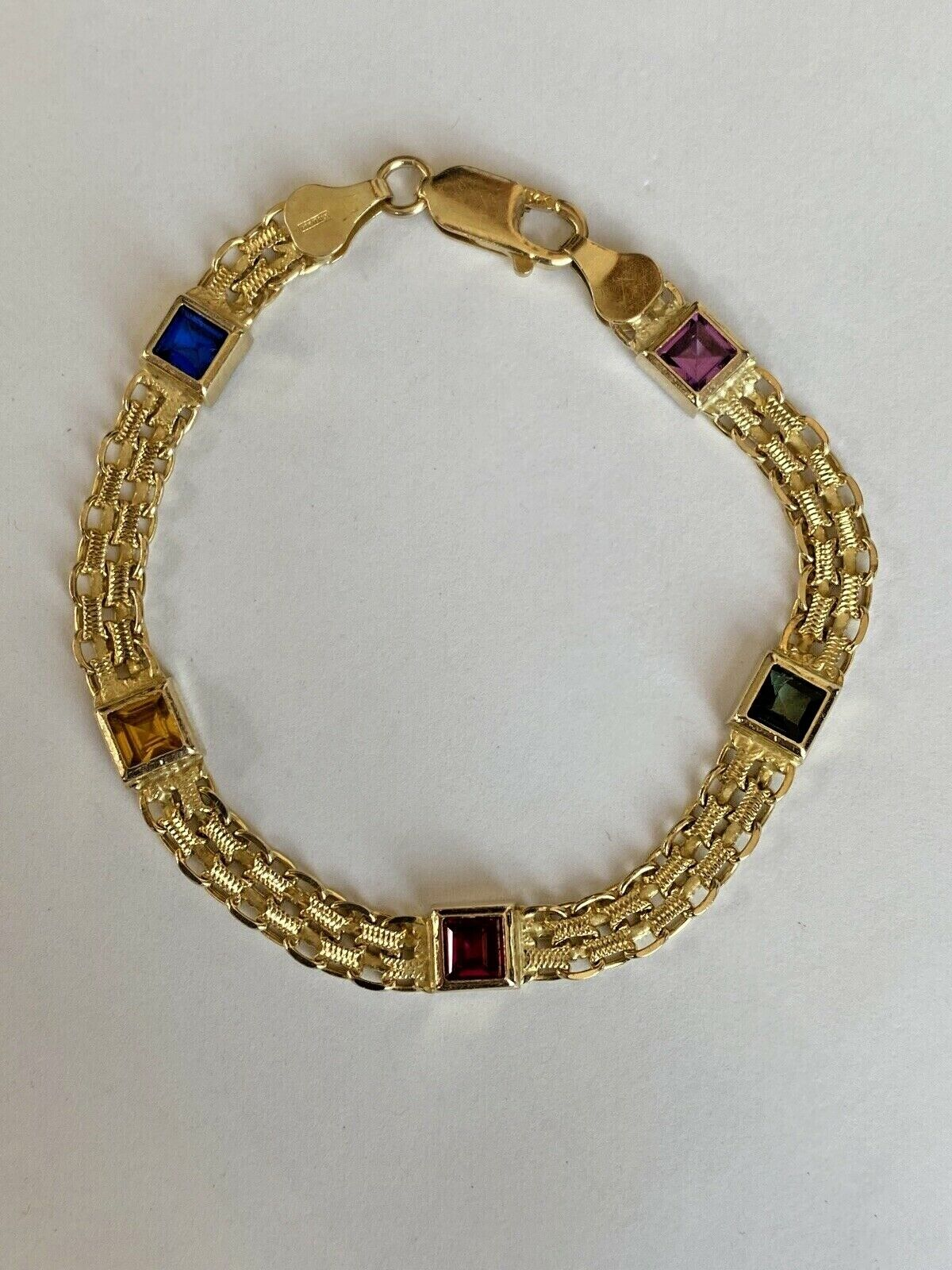 14k Yellow Gold w/ Colored Stones Women's Bracelet 6.3mm  7 1/4 Inches PRETTY!!! 3