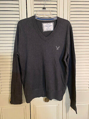 American Eagle Gray Long Sleeve V-Neck Cotton Sweater Vintage Fit Mens Sz M  New American Eagle Cotton Sweater