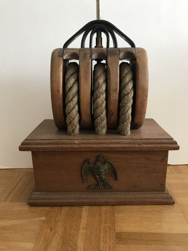 Nautical Wood Antique 3 Rope Pulley Lamp