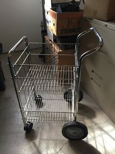 Chrome-plated steel wire mail cart upper &lower baskets.