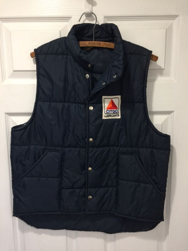 VINTAGE Citgo Pla-Jac By Dunbrooke QUILTED PUFFER VEST L 44-46 USA MADE BLUE