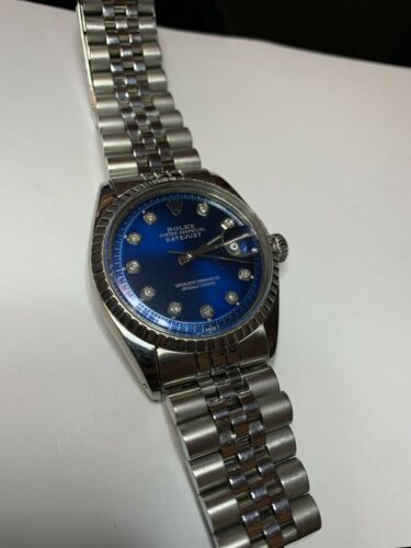 Men's Woman's Rolex Datejust 1603 Watch 36mm SS Blue Diamond Dial Jubilee Band