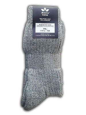 Set 3 pezzi Calze corte lana calzettoni uomo varie taglie grigio montagna neve