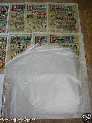 "100 x STORAGE BAGS FOR NEWSPAPERS, BEEZER, TOPPER COMICS ETC  : 17 1/2"" X 14"""