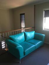 Exquisite leather Italian wing sofa in stunning Caribbean blue Beveridge Mitchell Area Preview