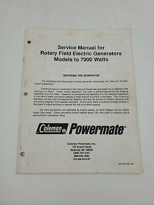 Coleman Powermate Service Manual Rotary Field Electric Generators To 7000 Watts