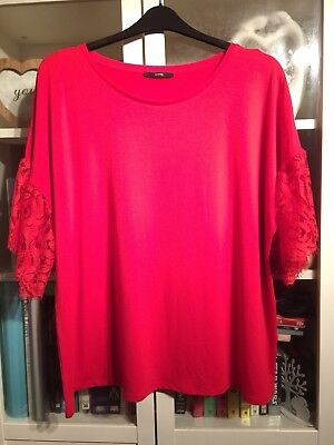 GG50 George Plus Sz 24 Xmas Red Soft Top Lace Sleeves