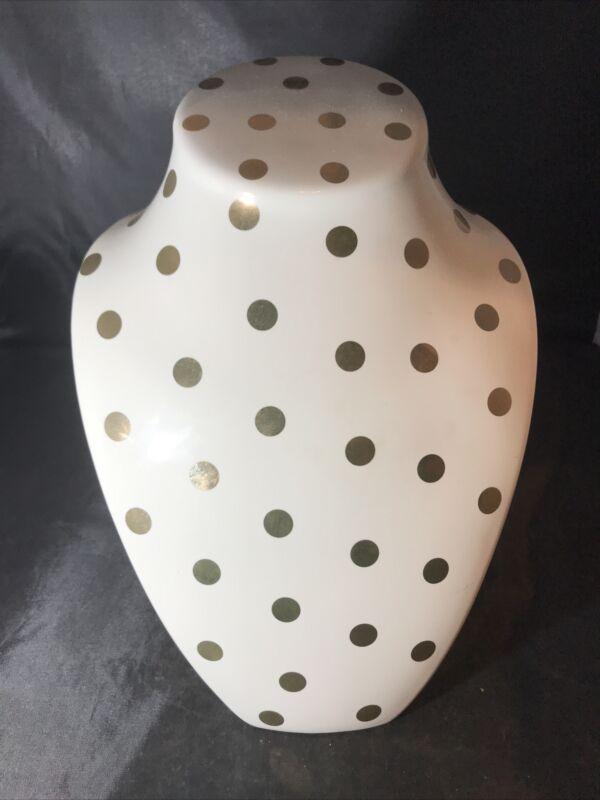 White Ceramic Gold Polka Dot Jewelry Display Bust