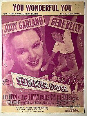 Vintage Sheet Music 1950 You Wonderful You Harry Warren Judy Garland Gene Kelly