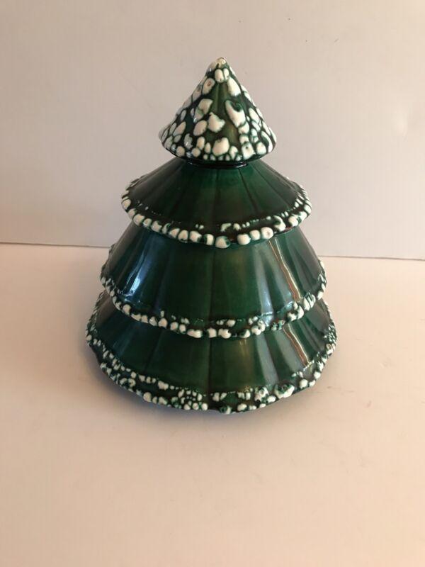 "Vintage Christmas Tree ceramic Handpainted Cookie Jar 8 1/2"""