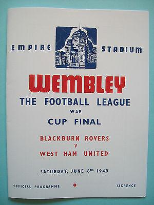 1940 F.A. cup final programme Blackburn Rovers v West Ham United war time mint.