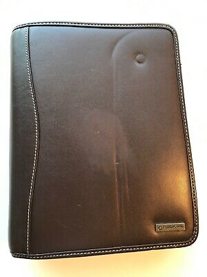 Franklin Covey Brown Leather Planner Binder 7 Ring Zip 1.5 Ring W Inserts