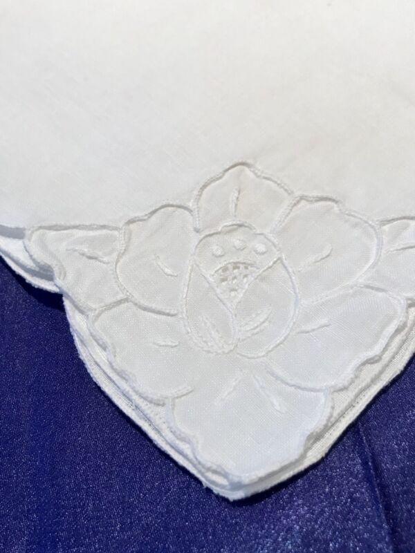 8 VNTG Hand-Embroidered Linen Madeira Napkins, White,Flower, Scalloped, PRISTEEN