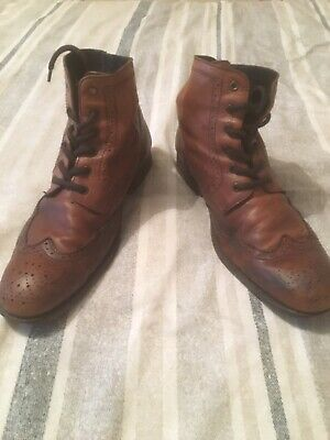 H by Hudson Men's Brown Brogue Boots Size 9 UK - Used - OFFERS