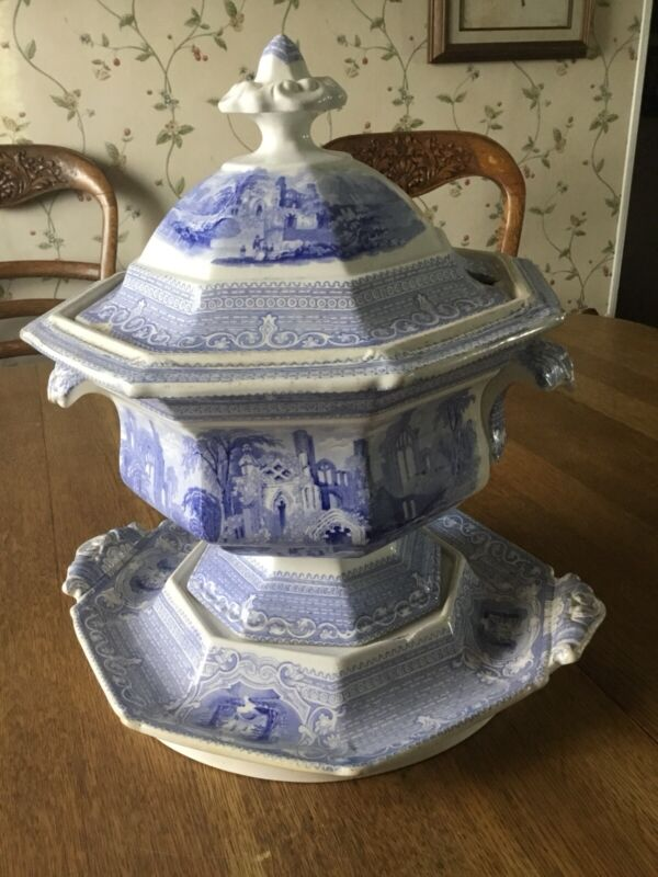 Antique English LP & Co  Blue and White Ironstone Tureen in Abbey Pattern