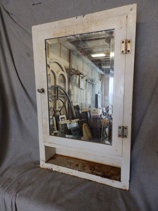 Vtg Industrial Metal Recessed Mount Old Medicine Cabinet Beveled Mirror  222-17P