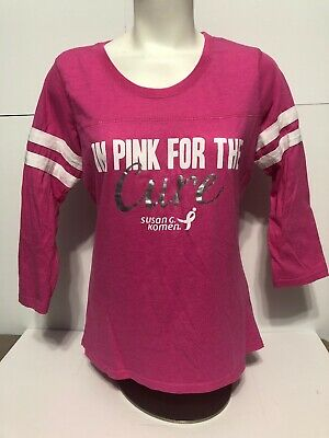 Womens Size Small Susan G Komen Foundation Pink Breast Cancer 3/4 Sleeve T Shirt