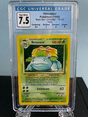 Venusaur Non Shadowless Base Set Holo Foil Pokemon Card CGC Graded 7.5 PSA 9