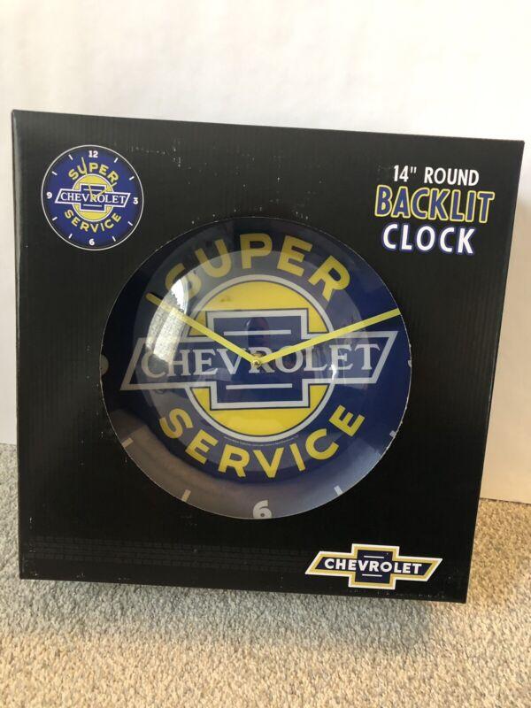 "Round Backlit Clock 14"" GM Chevrolet Super Service New"