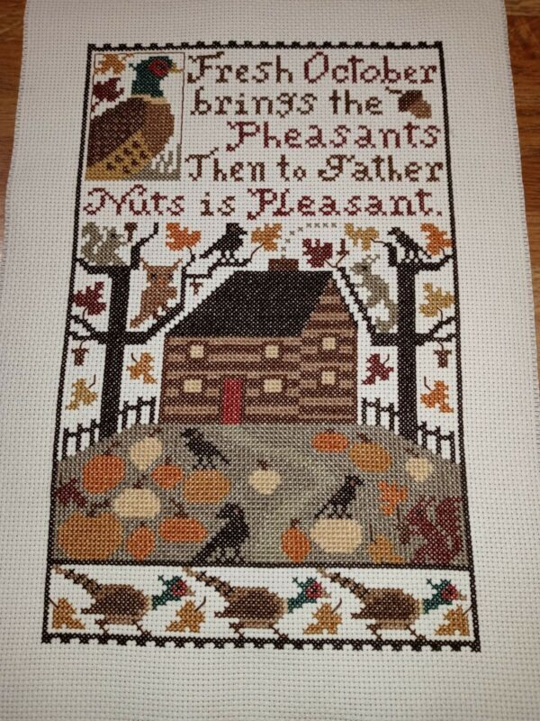 Completed Cross Stitch - Prairie Schooler October Sampler