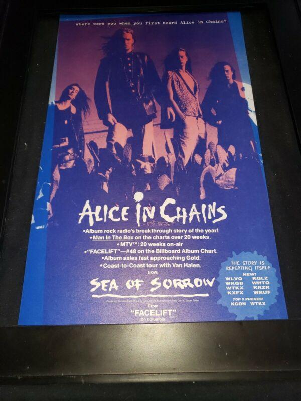 Alice In Chains Sea Of Sorrow Rare Original Radio Promo Poster Ad Framed! #2